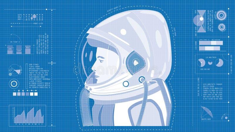 Astronaut blueprint stock images
