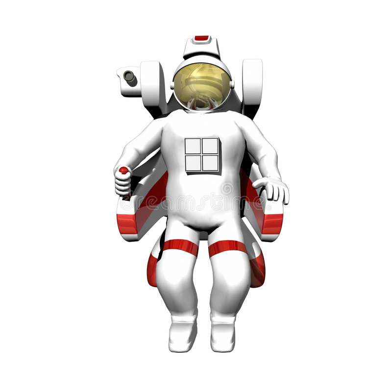 Astronaut In Booster Pack On White Stock Images