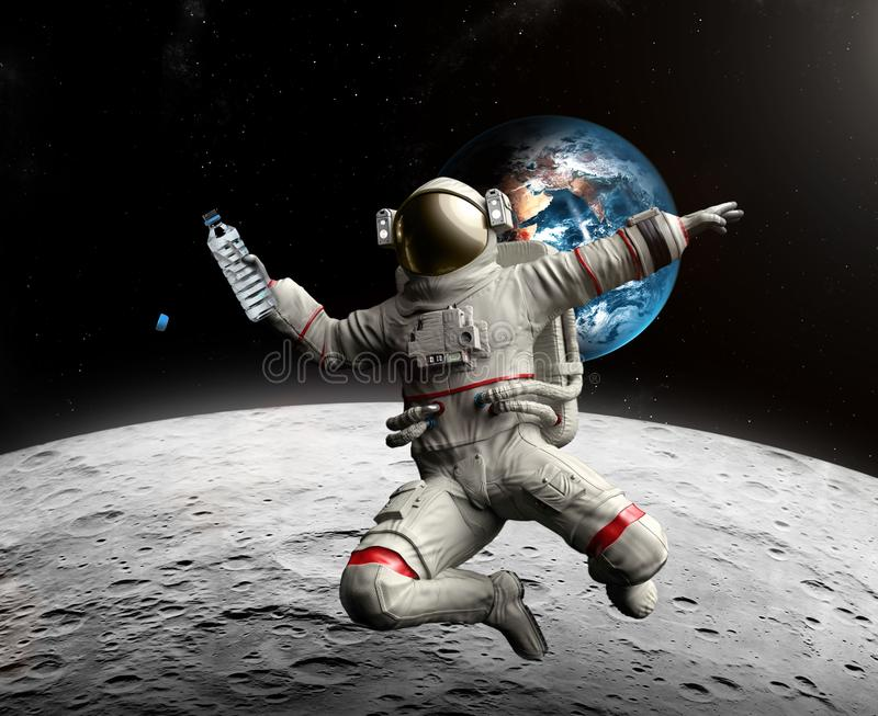 Astronaut with bottle of water in space. Discovery of water on the Moon stock illustration