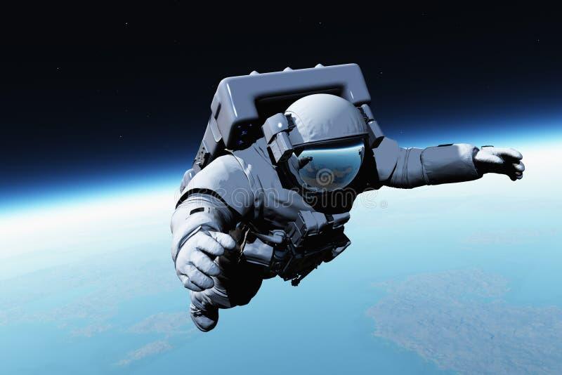 Astronaut boven de wolken royalty-vrije illustratie