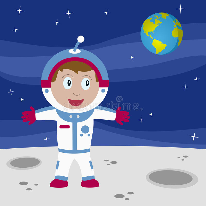 Astronaut Boy on the Moon. An astronaut boy on the Moon with the Earth in the background. Eps file available stock illustration