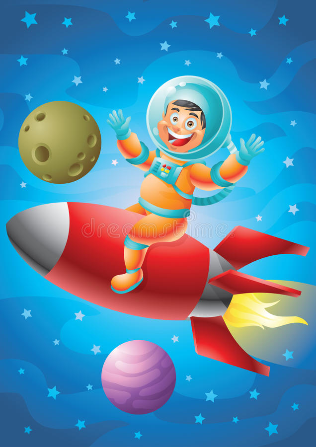 Astronaut boy riding red rocket ship, outer space background vector illustration