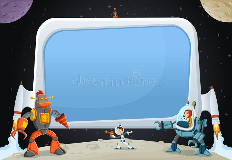Astronaut cartoon children fighting a robot on the moon. Futuristic rocket screen board in the space stock illustration