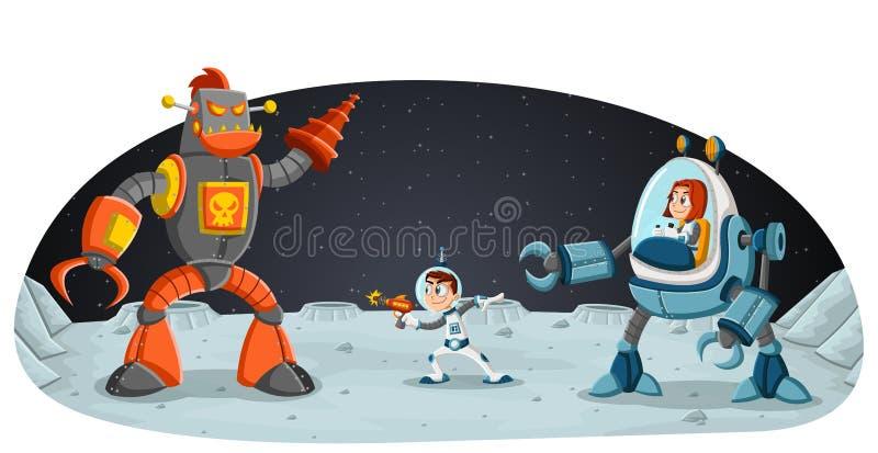 Astronaut cartoon children fighting a robot on the moon stock illustration