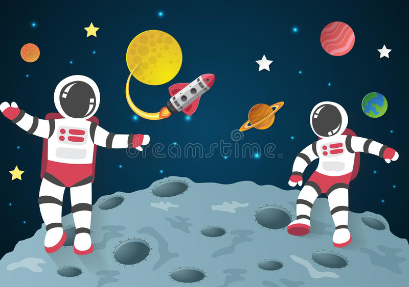 Astronaut Cartoon On The Moon With A Spaceship In Space