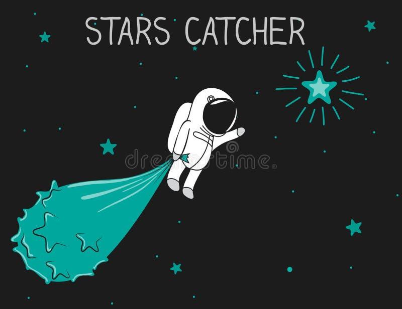 Astronaut catch the stars. Astronaut catch stars to the bag.Cartoon childish vector illustration royalty free illustration
