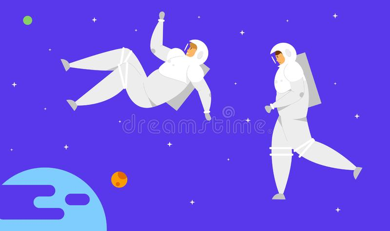 Astronaut Characters in Space Suits Flying in Outer Space with Stars and Earth or Extraterrestrial Planet Background. Cosmonauts in Charge of Maintenance royalty free illustration