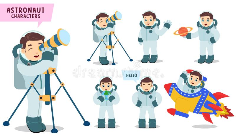 Astronaut characters vector set Spaceman kid holding telescope and preparing for outer space exploration. Isolated in white background. Vector illustration vector illustration