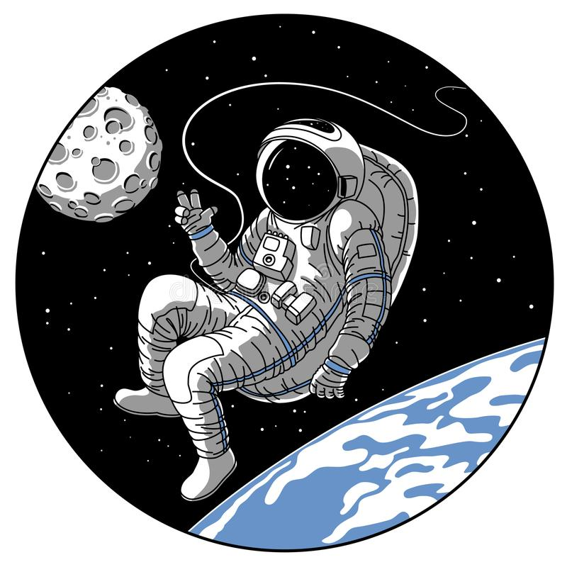 Astronaut or cosmonaut in open space vector sketch illustration stock illustration