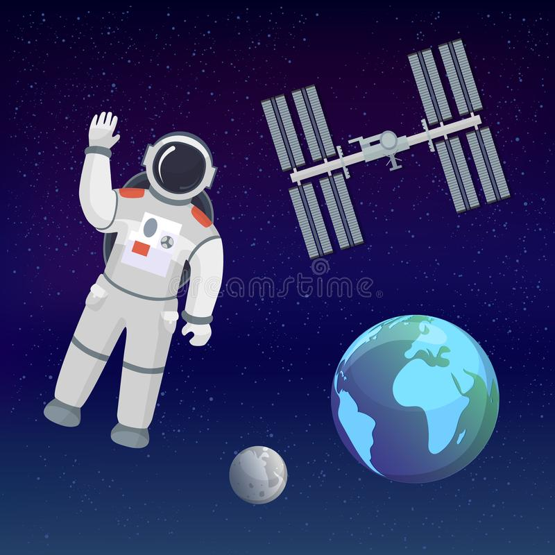 Astronaut in the cosmos space suit salutes on the cosmic background with Earth, Moon, stars and space station. Space stock illustration