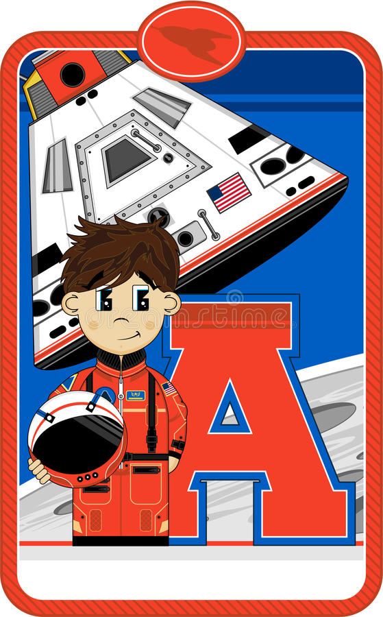 A is for Astronaut vector illustration