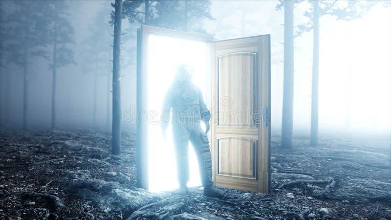 Astronaut in de bos Lichte poortdeur van de mistnacht landende plaats 4K animatie het 3d teruggeven stock illustratie