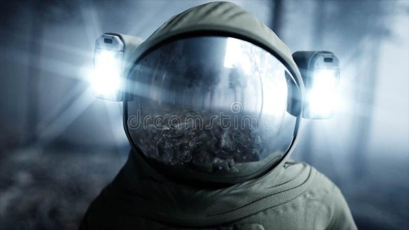 Astronaut in de de bosvrees en verschrikking van de mistnacht landende plaats 4K animatie het 3d teruggeven stock illustratie