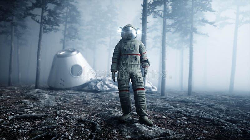 Astronaut in de de bosvrees en verschrikking van de mistnacht landende plaats 4K animatie het 3d teruggeven vector illustratie