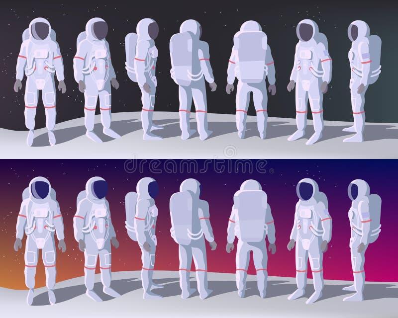 Astronaut in den verschiedenen Positionen vektor abbildung