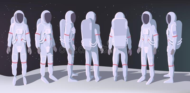 Astronaut in den verschiedenen Positions-Ständen auf Mond vektor abbildung
