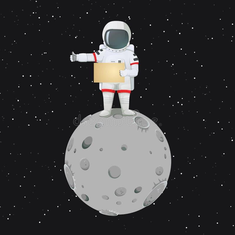Astronaut, der auf dem Mond hält ein leeres Zeichen und macht Tramper ` s Geste steht stock abbildung