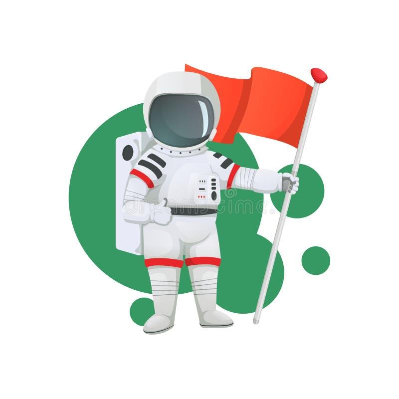 Astronaut, der Daumen herauf Geste mit einer Flagge, Zeichen gibt lizenzfreie abbildung