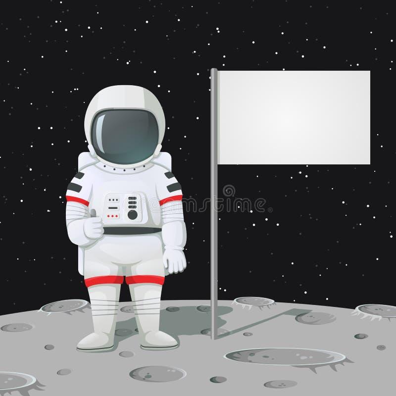 Astronaut, der Daumen oben auf der Mondoberfläche mit leerer Flagge gibt, vektor abbildung