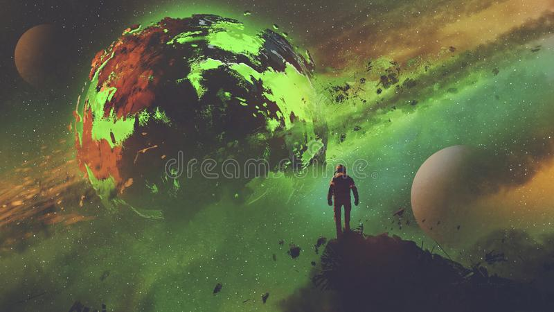 Astronaut, der den sauren Planeten betrachtet vektor abbildung