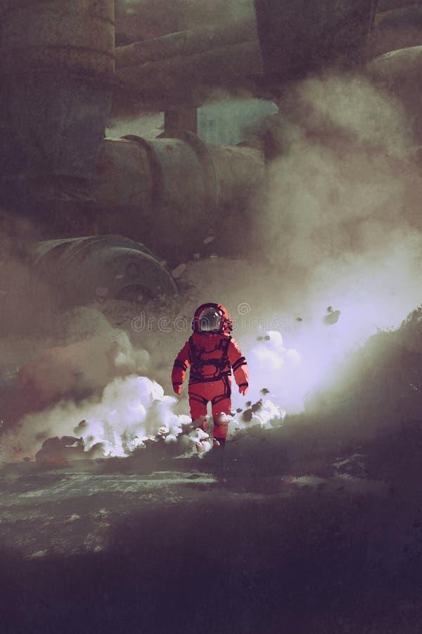 Astronaut, der durch Rauch auf Planeten mit Sciencefictionsgebäuden auf Hintergrund geht lizenzfreie abbildung