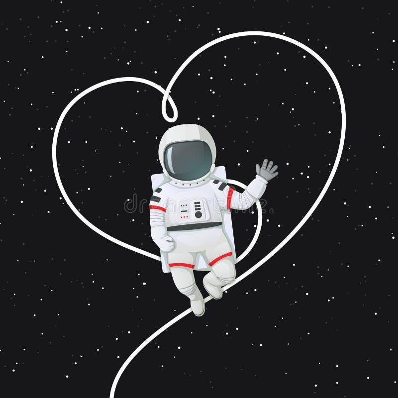 Astronaut, der eine Hand mit seiner Leine umreißt die Form eines Herzens schwimmt und wellenartig bewegt lizenzfreie abbildung