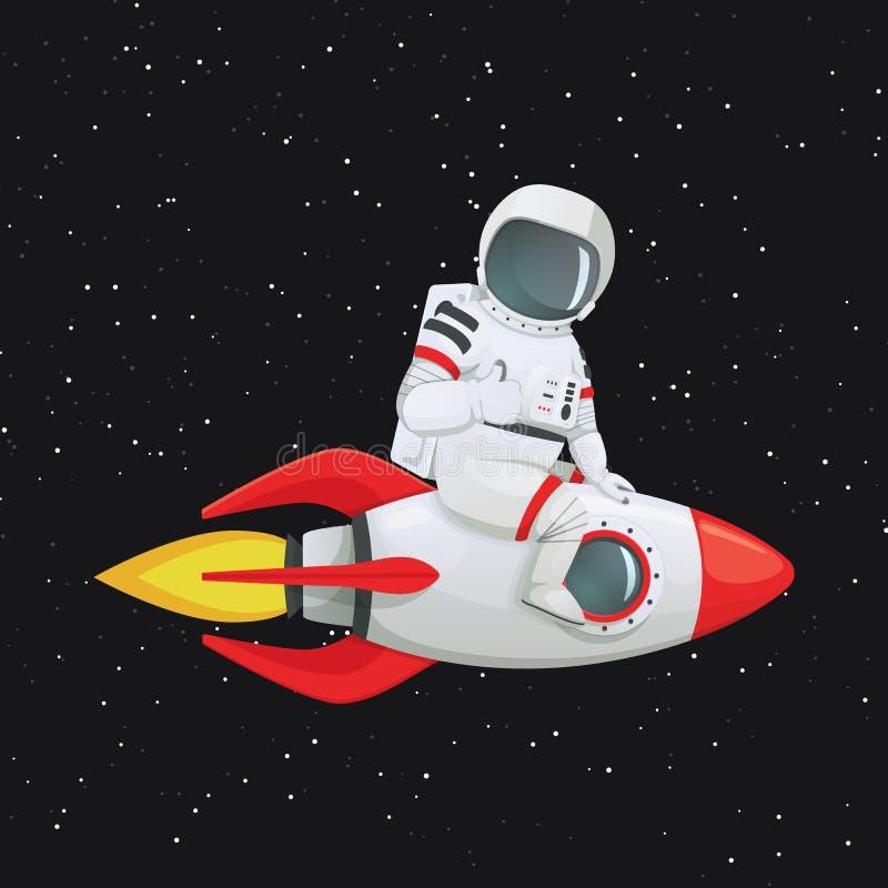 Astronaut, der rittlings auf dem Raketenschiff gibt Daumen herauf Geste sitzt stock abbildung