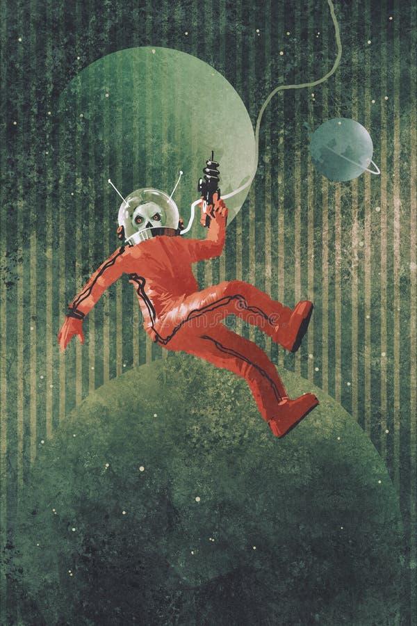 Astronaut in der roten Klage stock abbildung