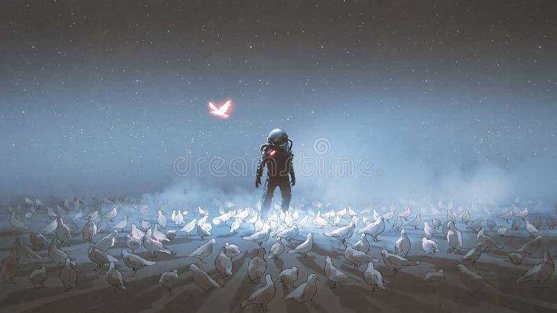 Astronaut, der unter Menge des Vogels steht vektor abbildung