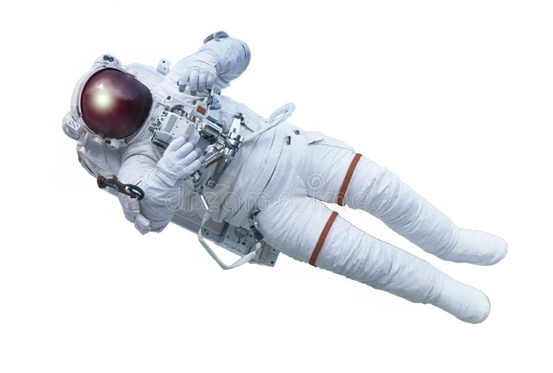 The astronaut, with the device in hands, isolated on a white background. Elements of this image were furnished by NASA stock image
