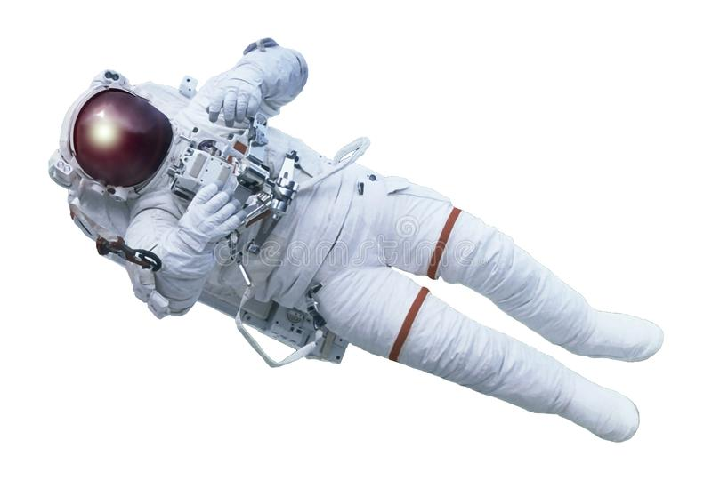 The astronaut, with the device in hands, in a space suit Elements of this image were furnished by NASA. The astronaut, with the device in hands, in a space suit royalty free stock images