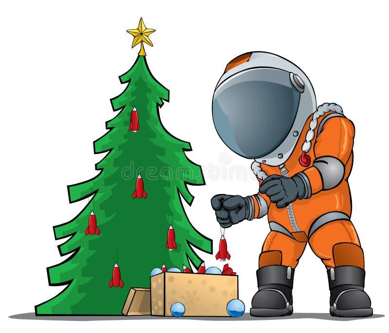 Astronaut die de Kerstboom verfraait royalty-vrije illustratie