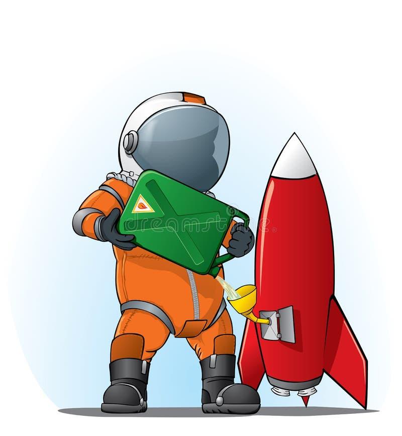 Astronaut die de raket vult vector illustratie