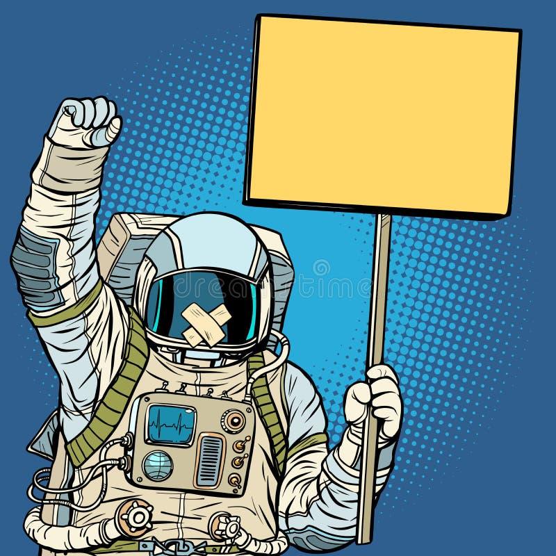 Astronaut die met prop voor vrijheid van toespraak protesteren stock illustratie