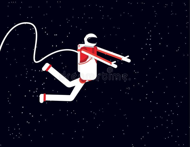 Astronaut die op asteroïde, de vectorillustratie van de Conceptentechnologie, het Vlakke ontwerp van de beeldverhaaltekenstijl sp royalty-vrije illustratie