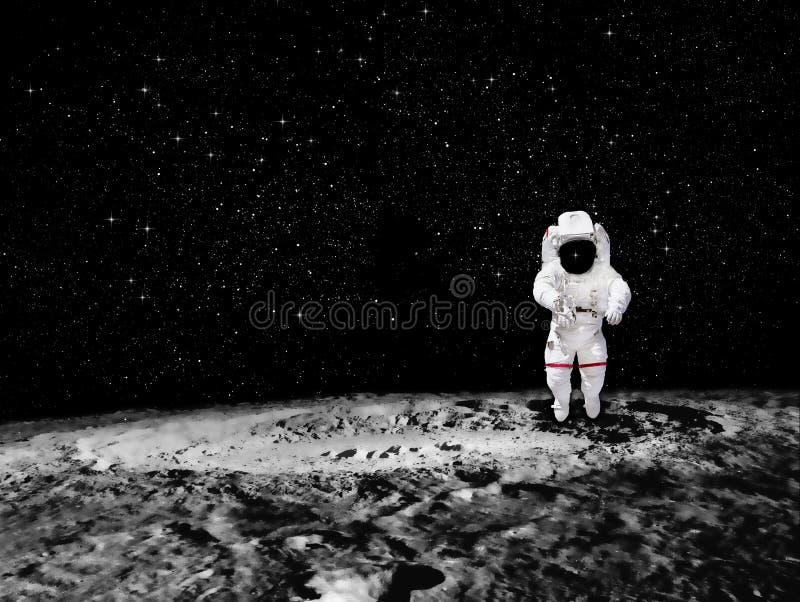 Astronaut die op een planeet is geland stock fotografie