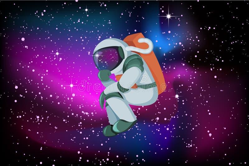 Astronaut die of oplossing op vlotte de hemelachtergrond van de gloednacht denken zoeken royalty-vrije illustratie
