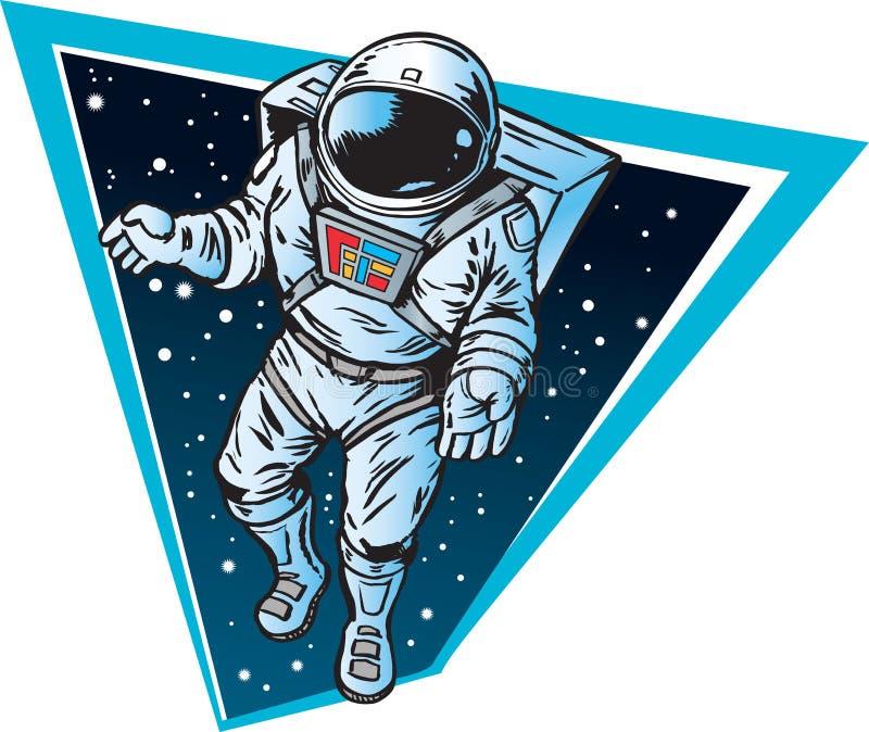 Astronaut die in ruimte drijft royalty-vrije illustratie