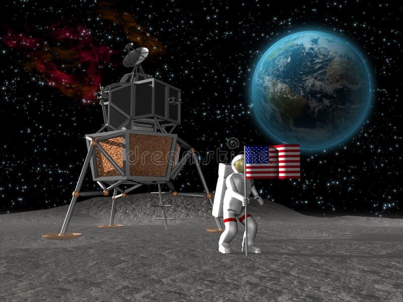 Astronaut die vlag op maan plant stock illustratie