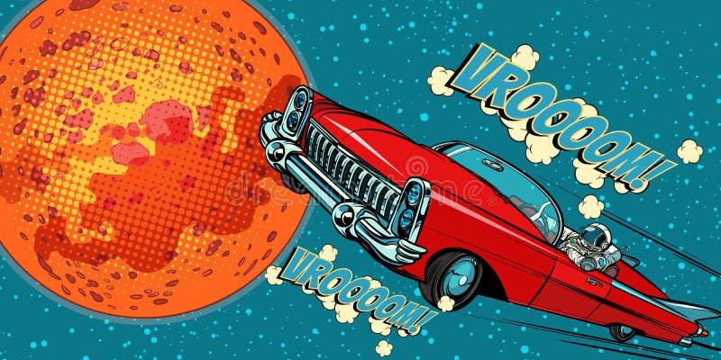 The astronaut driver in car on Mars. Pop art retro vector illustration comic cartoon hand drawn vector stock illustration