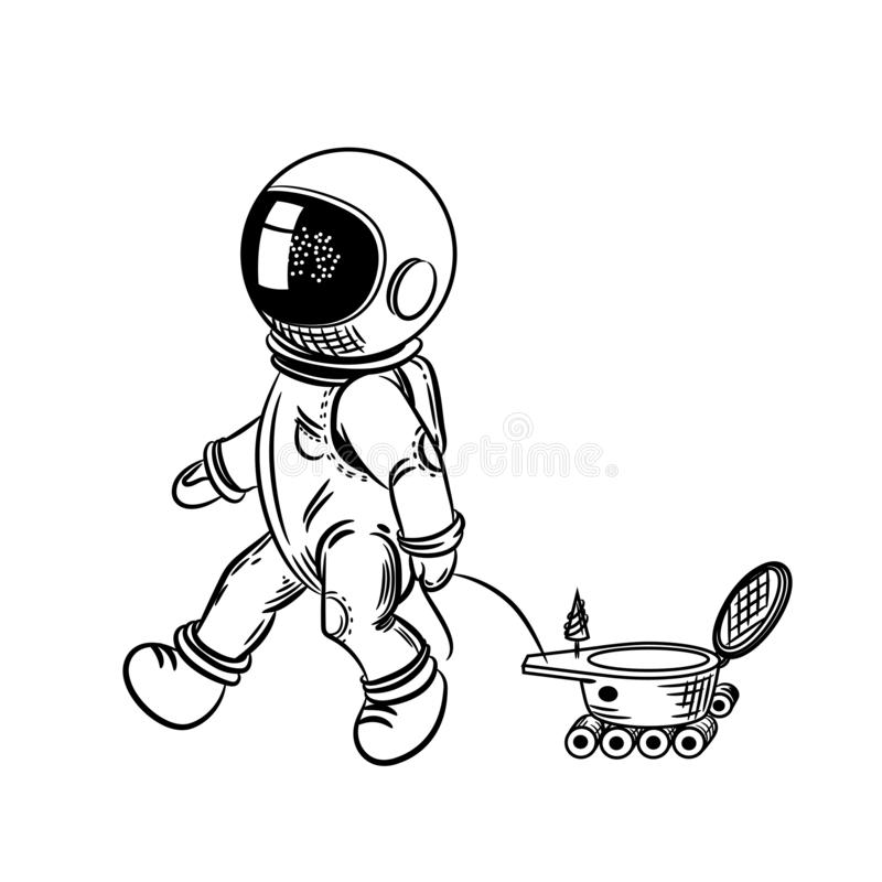 The astronaut is driving a lunar rover. Vector illustration on a theme of astronomy. stock illustration