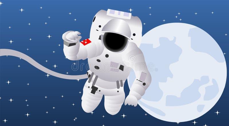 Astronaut een persoon die om in een ruimtevaartuig wordt opgeleid te reizen royalty-vrije illustratie