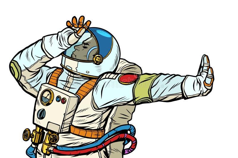 Astronaut in een spacesuit Gebaar van ontkenning, schande, nr vector illustratie