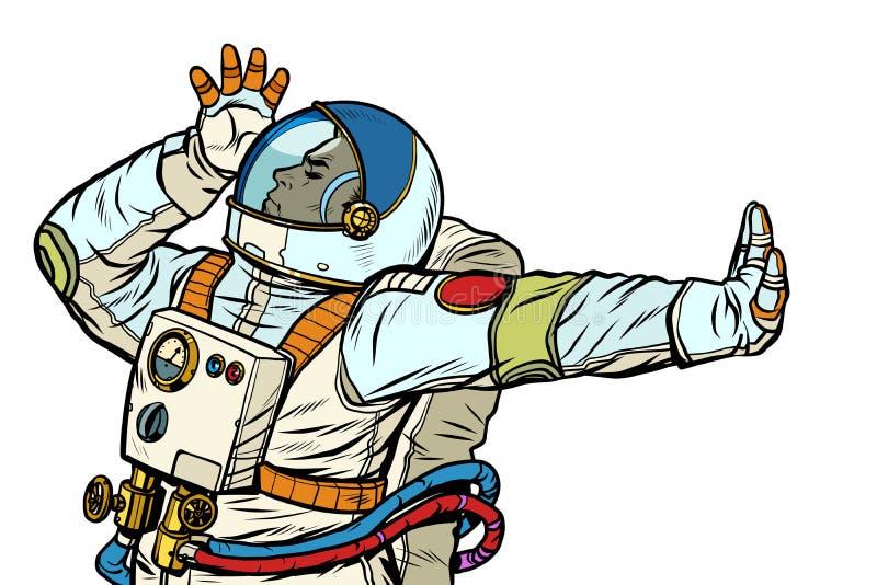 Astronaut in een spacesuit Gebaar van ontkenning, schande, nr stock illustratie