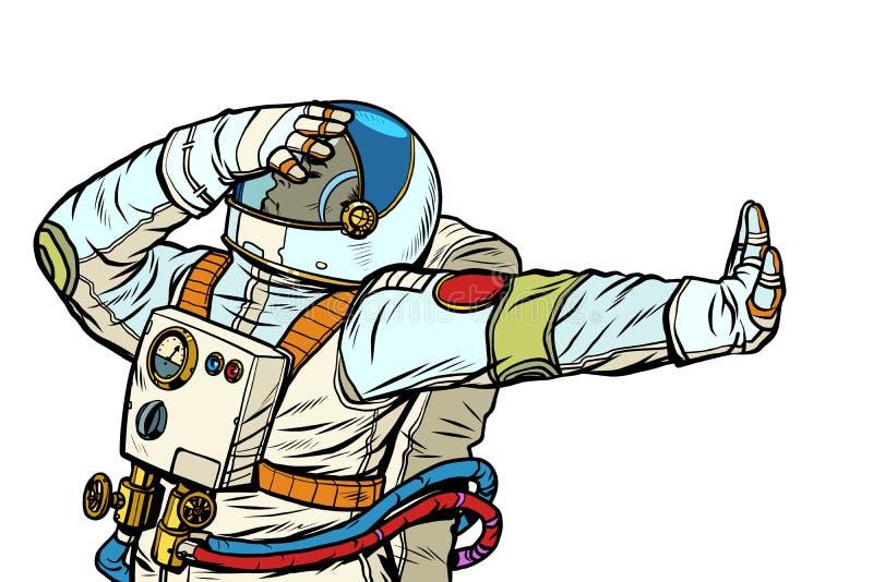 Astronaut in een spacesuit Gebaar van ontkenning, schande, nr royalty-vrije illustratie