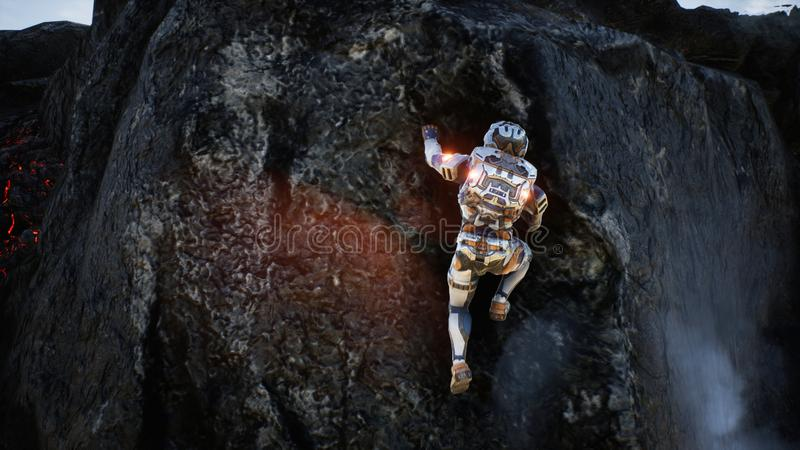 Astronaut escapes from the crater of the volcano. Super realistic concept. 3D Rendering. Astronaut escapes from the crater of the volcano. Super realistic stock illustration