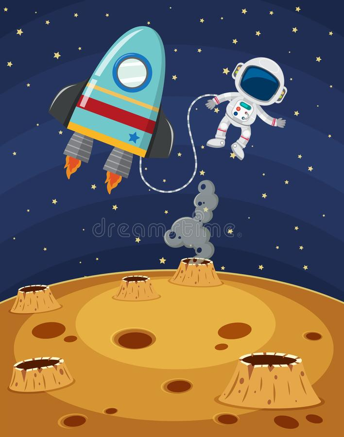 Astronaut Exploring Fantasy Planet Surface. Illustration stock illustration