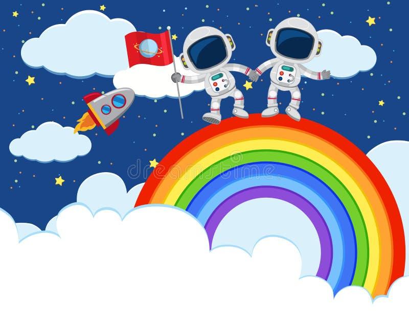 Astronaut Exploring over the Rainbow royalty free illustration