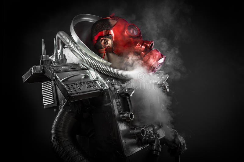 Astronaut, fantasy warrior with huge space weapon. Astronaut, fantasy warrior with huge space royalty free stock images