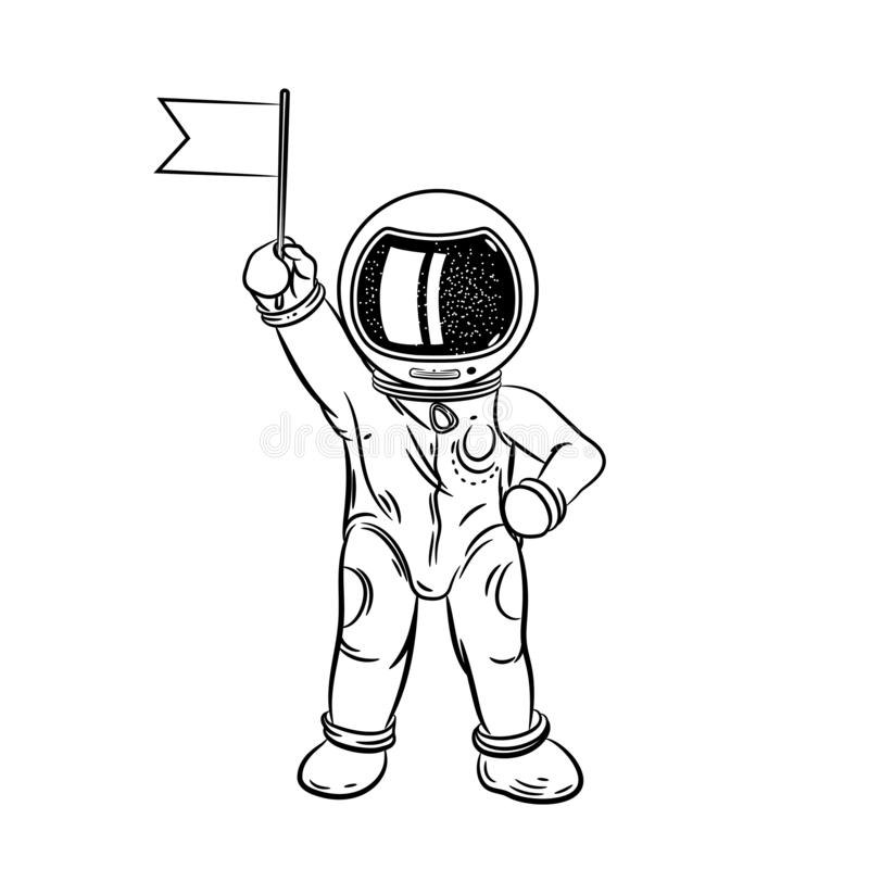 Astronaut with flag in hand. Coloring page. Astronaut with flag in hand. Vector illustration on a theme of astronomy stock illustration